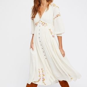 NWT FREE PEOPLE DAY GLOW EMBROIDERED MIDI DRESS